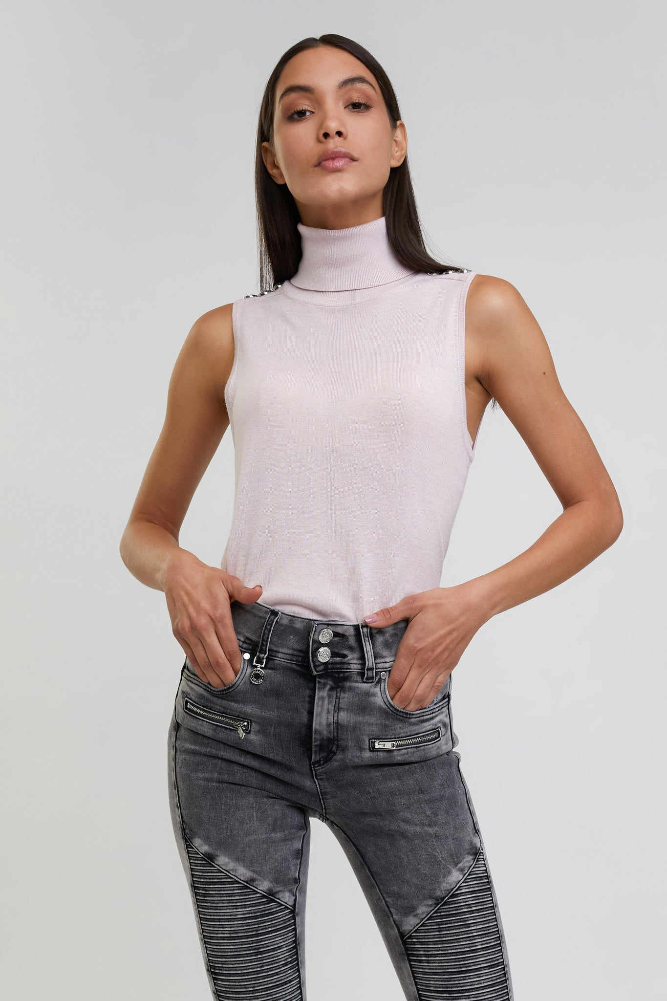 Luxury Sleeveless Roll Neck (Ice Pink Marl)