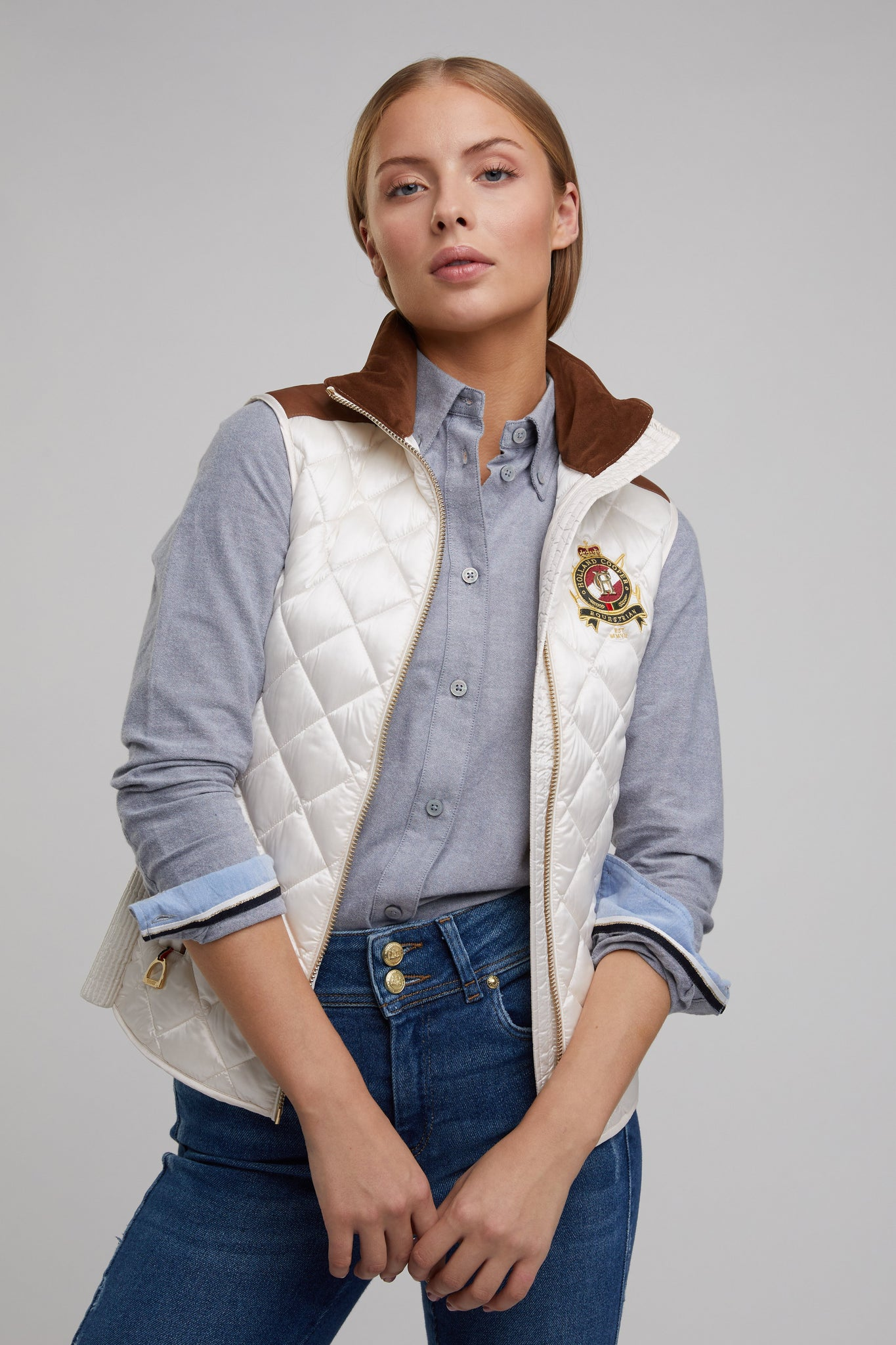 Diamond Quilt Classic Gilet (Cream)