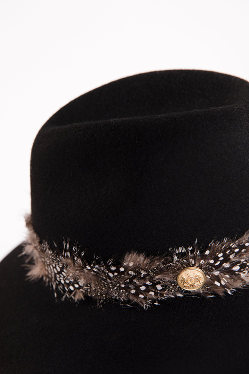 Trilby Hat with Feather Band (Black)