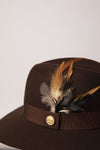 Trilby Hat (Chocolate/Feather)