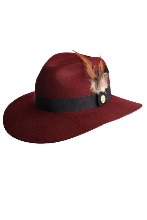 36dceafc Trilby Hat (Burgundy/feather) – Holland Cooper