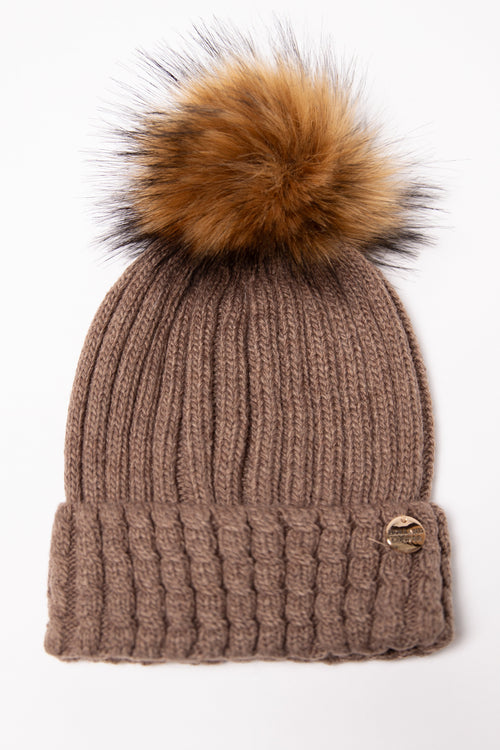 Wool Blend Cable Knit Bobble Hat (Coffee)