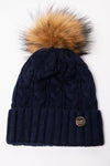 Cashmere Cable Knit Bobble Hat (Navy)