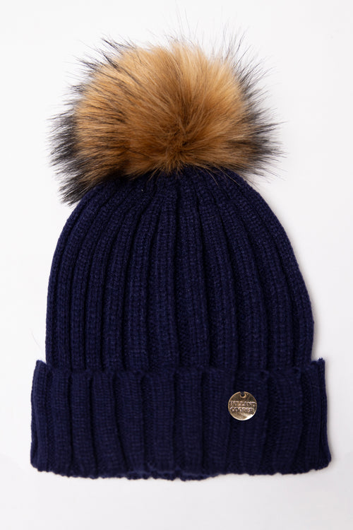 Acrylic Cable Knit Bobble Hat (Navy)