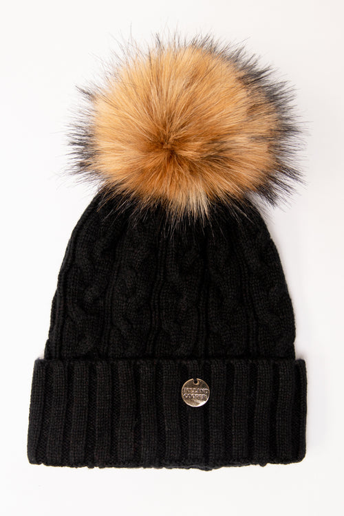 Cashmere Cable Knit Bobble Hat (Black)