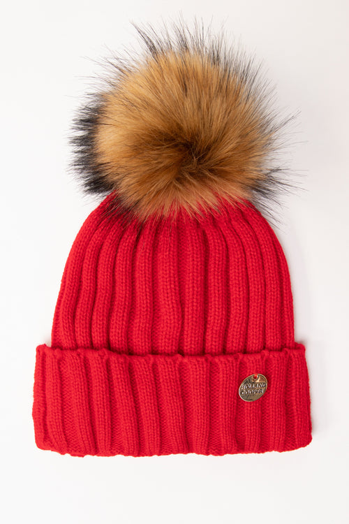 Acrylic Cable Knit Bobble Hat (Red)