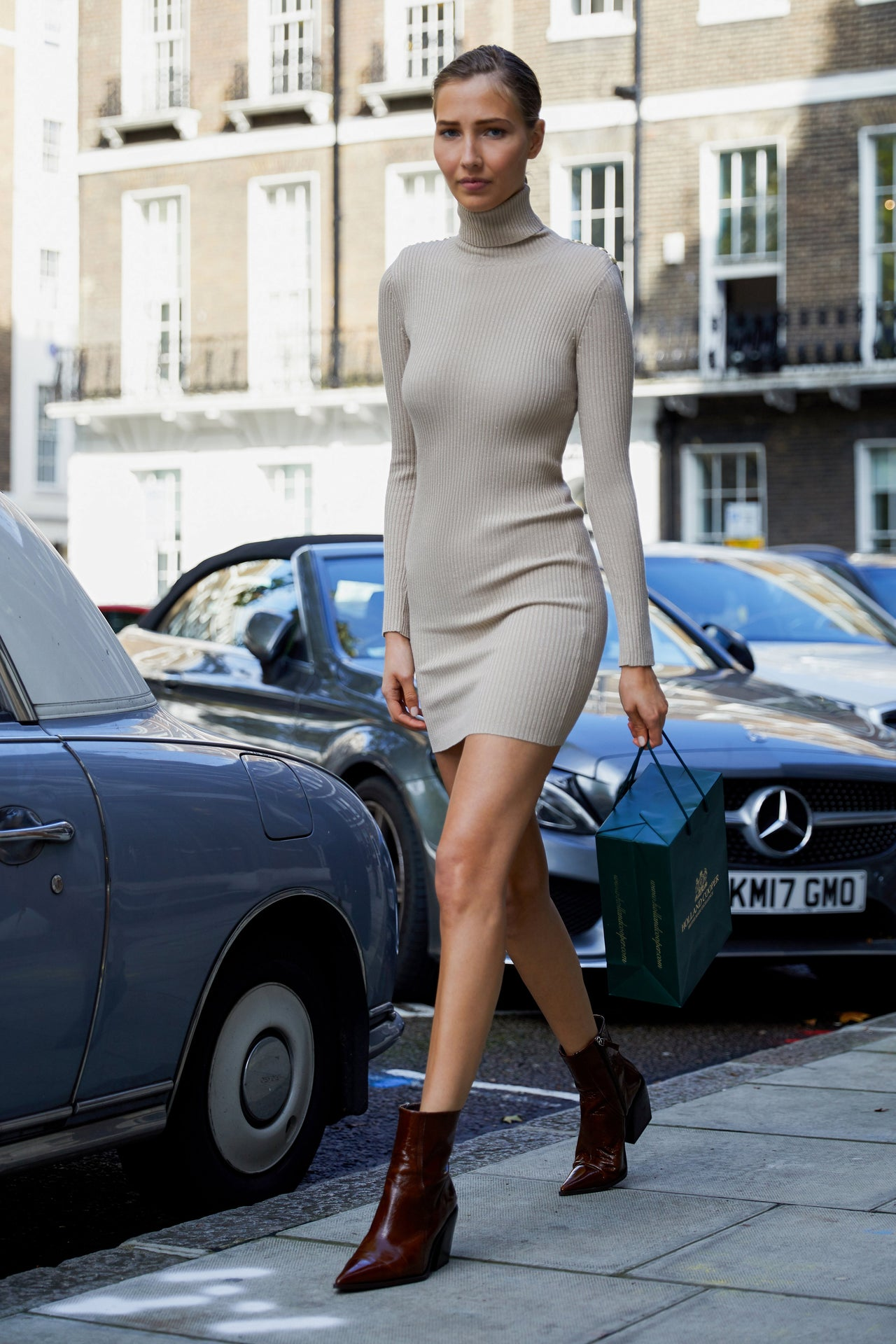 Metallic Roll Neck Jumper Dress (Camel)