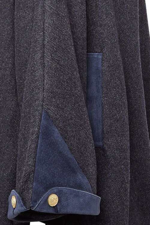 Tweed & Fur Cape with Detachable Fur Collar (Navy Duke)