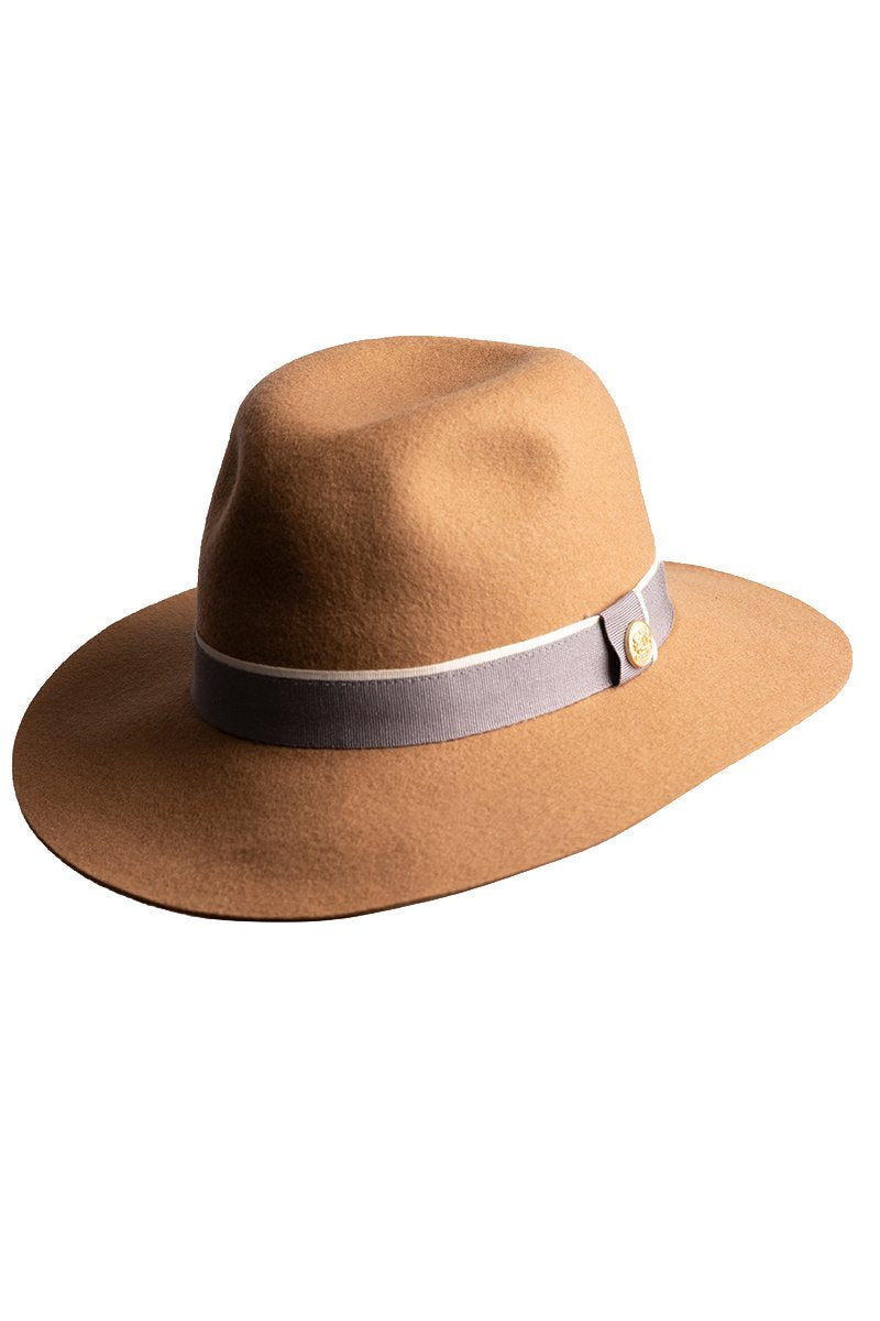 Trilby Hat (Camel/Grey)