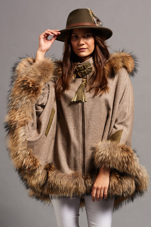 Gold Label Fur Cape (Stone Herringbone)