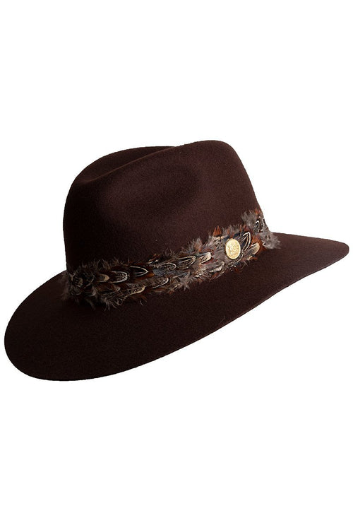 Trilby Hat with Feather Band (Chocolate)