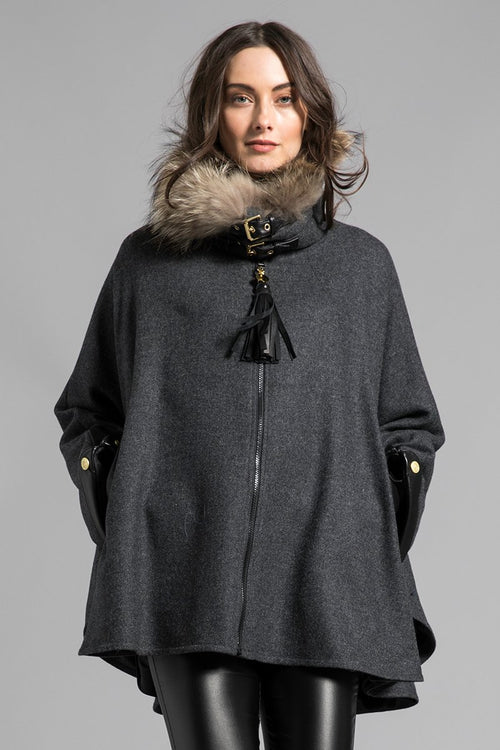 Tweed & Fur Cape with Detachable Fur Collar (Charcoal)