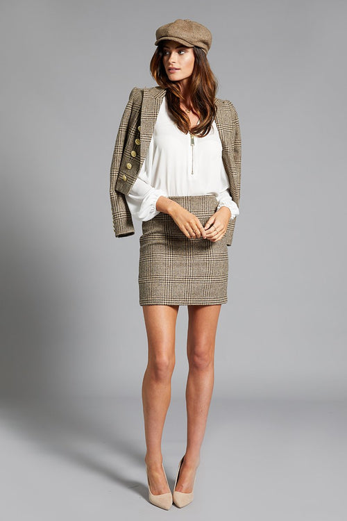 Chelsea Skirt (Brown Prince of Wales Check)