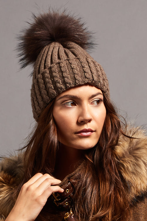 Wool Blend Fur Bobble Hat (Coffee)