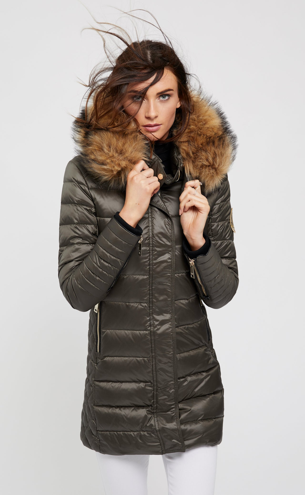 St Moritz Down Quilted Parka (Misty Khaki)