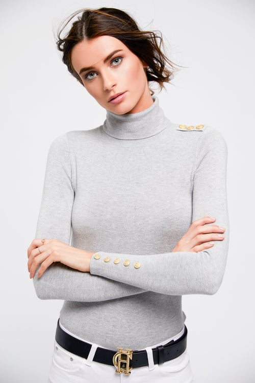 Buttoned Knit Roll Neck (Grey)