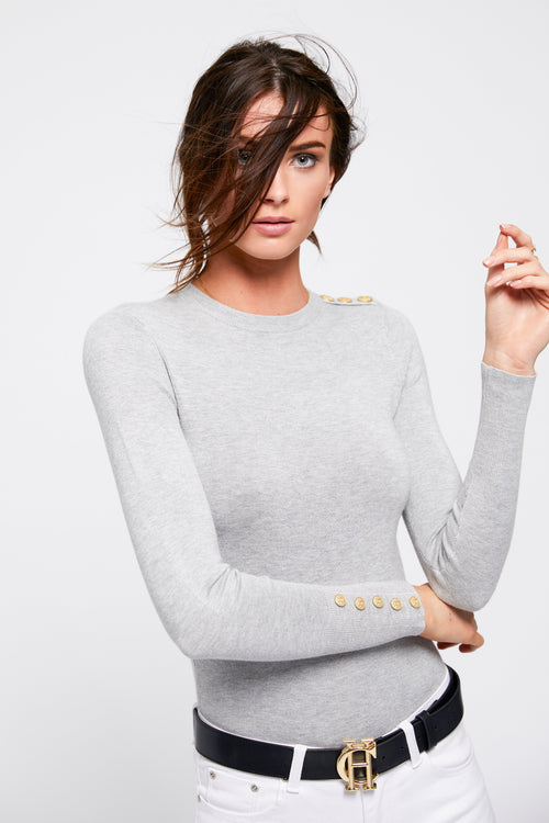 Buttoned Knit Crew Neck (Grey)