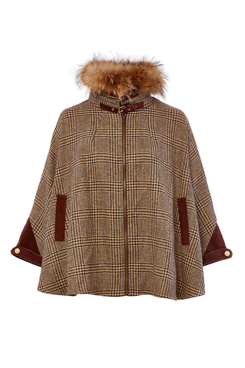 Tweed & Fur Cape with Detachable Fur Collar (Brown Prince of Wales Check)