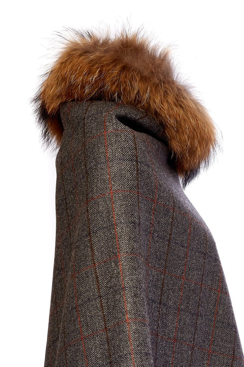 Tweed and Fur Wrap (Mid Blue Check)