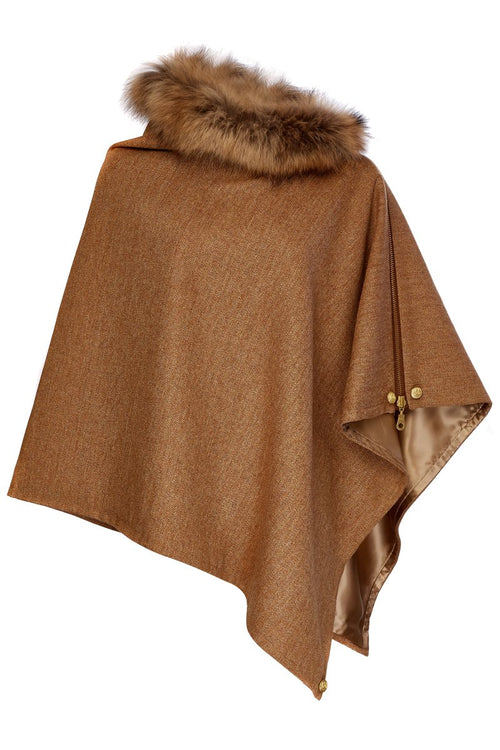 Tweed and Fur Wrap (Brown Herringbone)