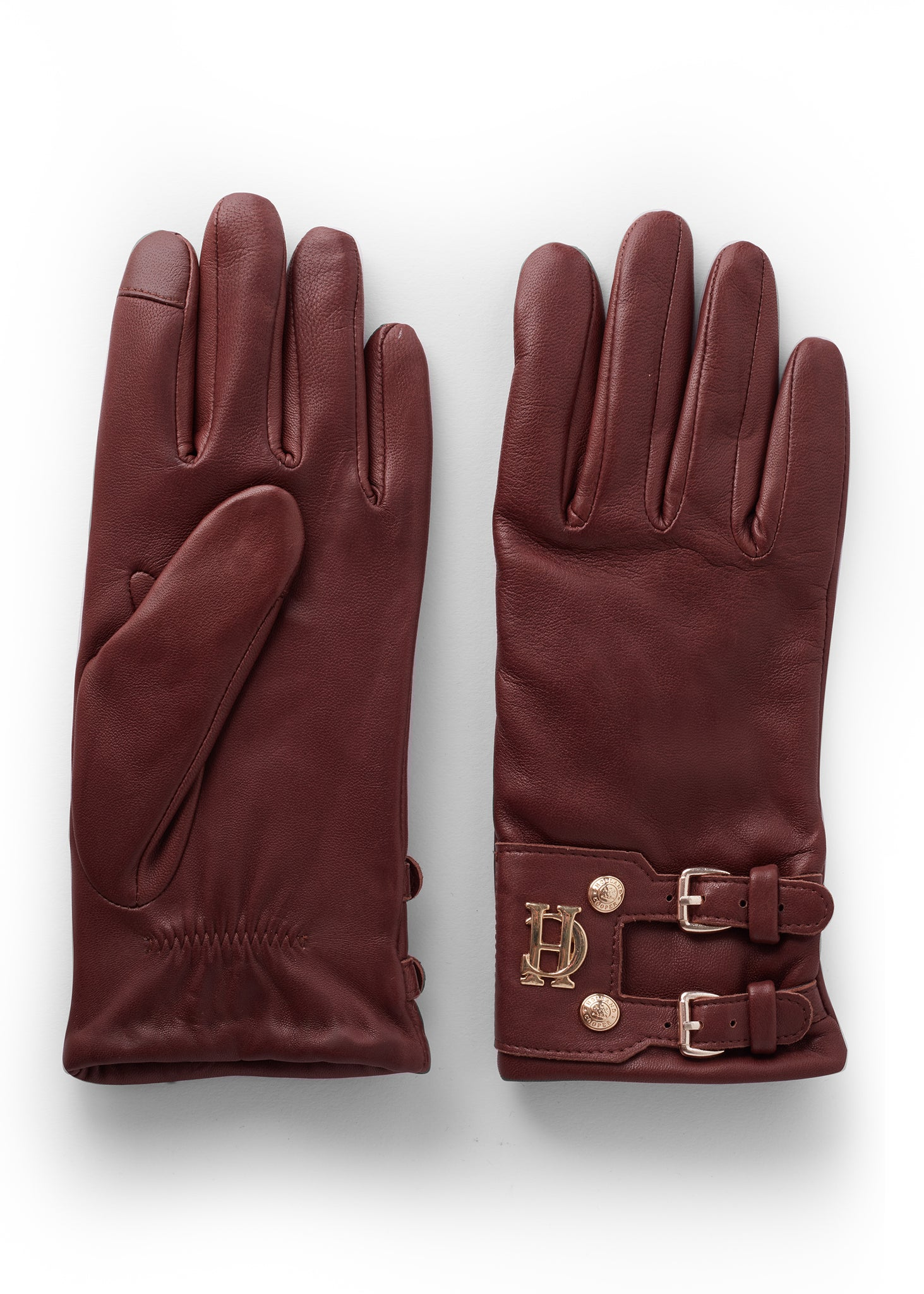 Monogram Leather Gloves (Chocolate)