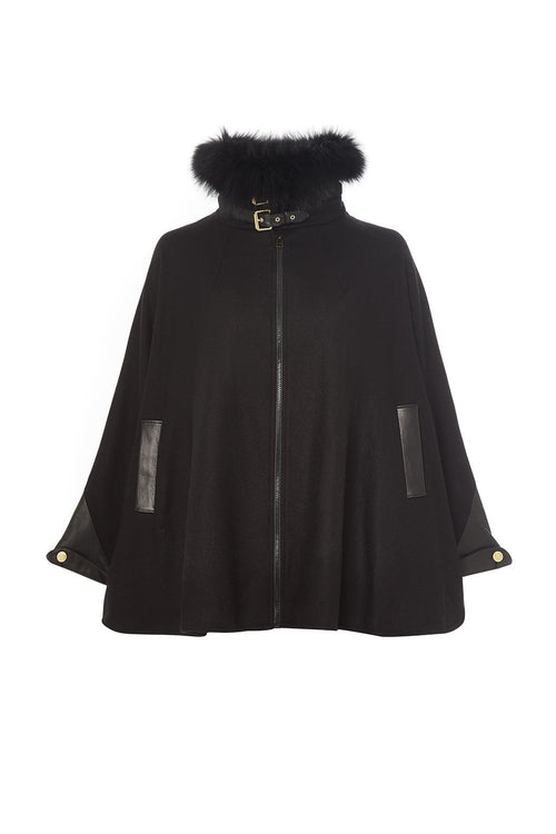 Tweed & Fur Cape with Detachable Fur Collar (Black on Black)