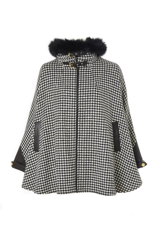 Tweed & Fur Cape with Detachable Fur Collar (Houndstooth)
