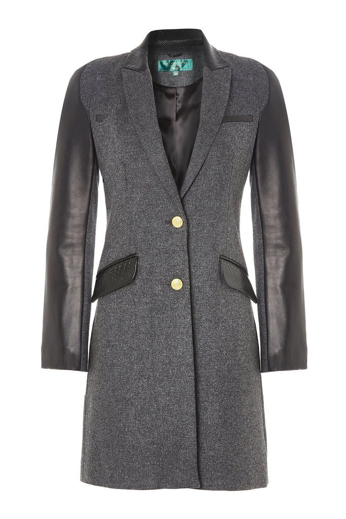 City Chelsea Coat Charcoal Amp Leather Holland Cooper