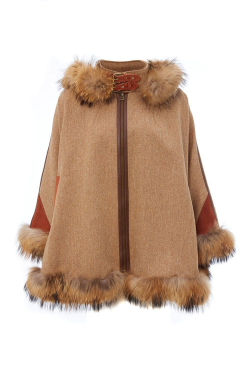 Gold Label Fur Cape (Brown Herringbone)