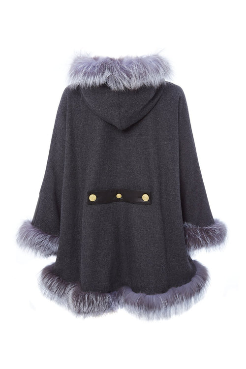 Gold Label Fur Cape (Charcoal & Silver)