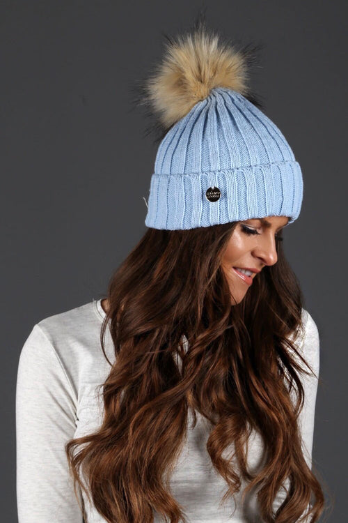 Faux Fur Ribbed Bobble Hat (Sky)