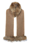 Tweed and Fur Scarf (Brown Herringbone)