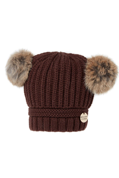 Children's Double Pom Pom Hat (Chocolate)