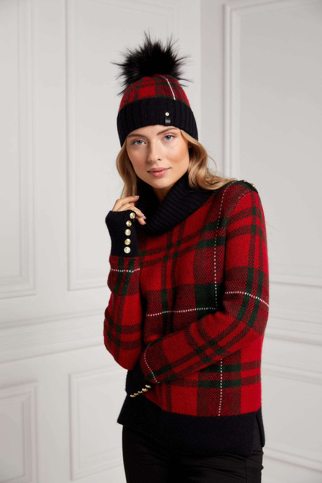 Knitted Bobble Hat (Red Tartan)