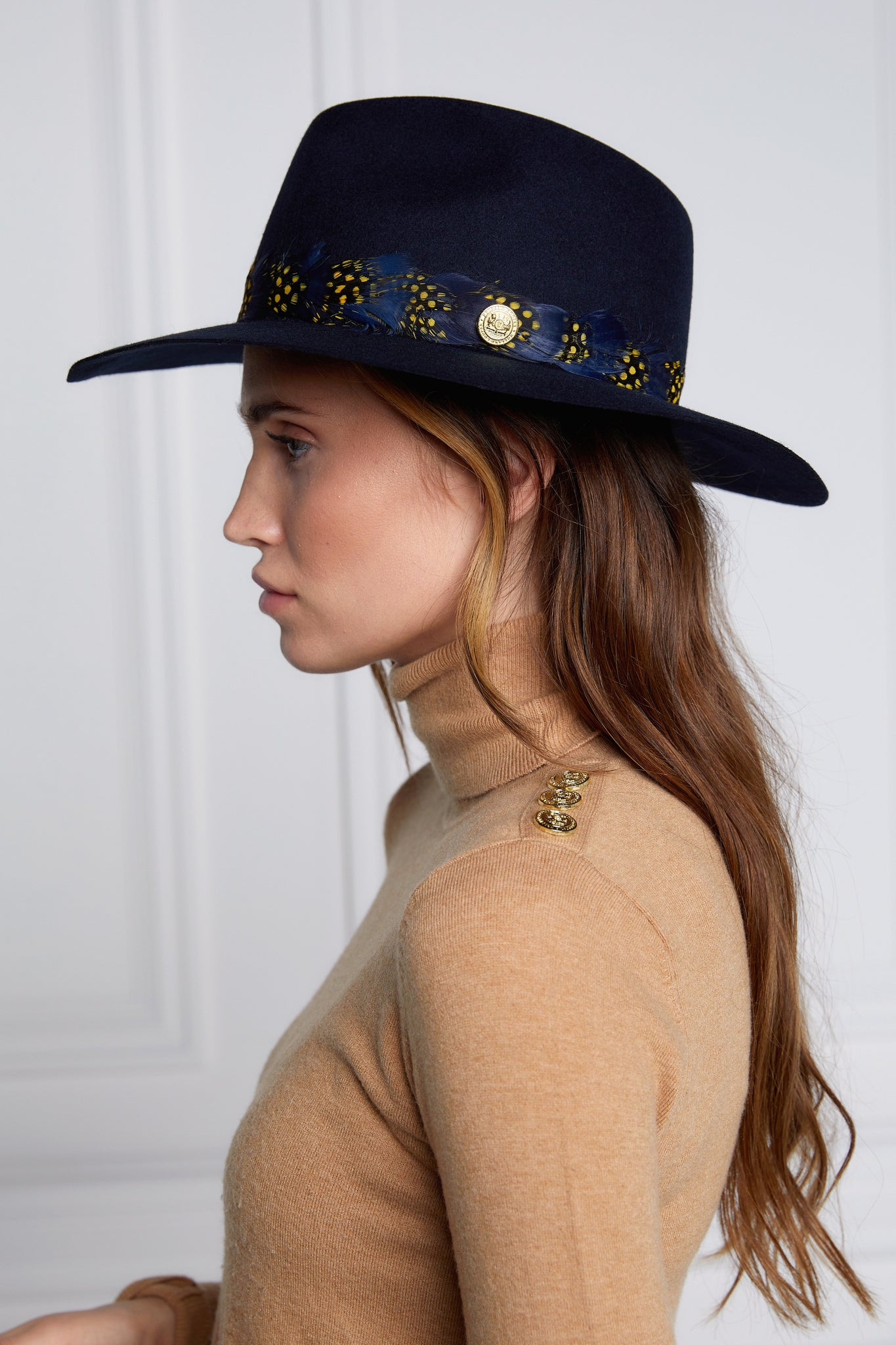 Trilby Hat Spotty Feather Band (Ink Navy)