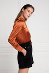 Silk V-Neck Blouse (Caramel)