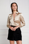 Silk V-Neck Blouse (Champagne)
