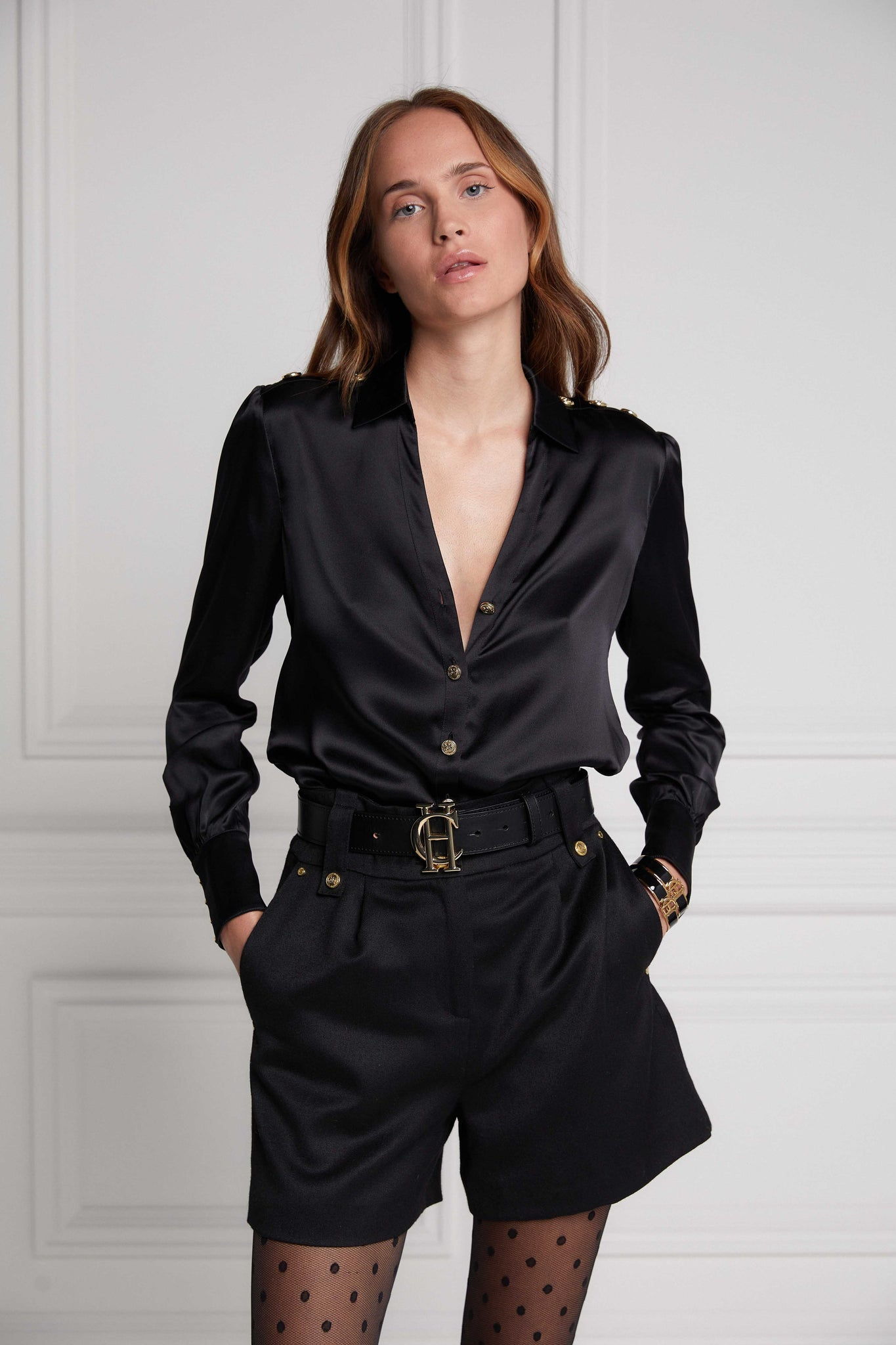 Silk V-Neck Blouse (Black)