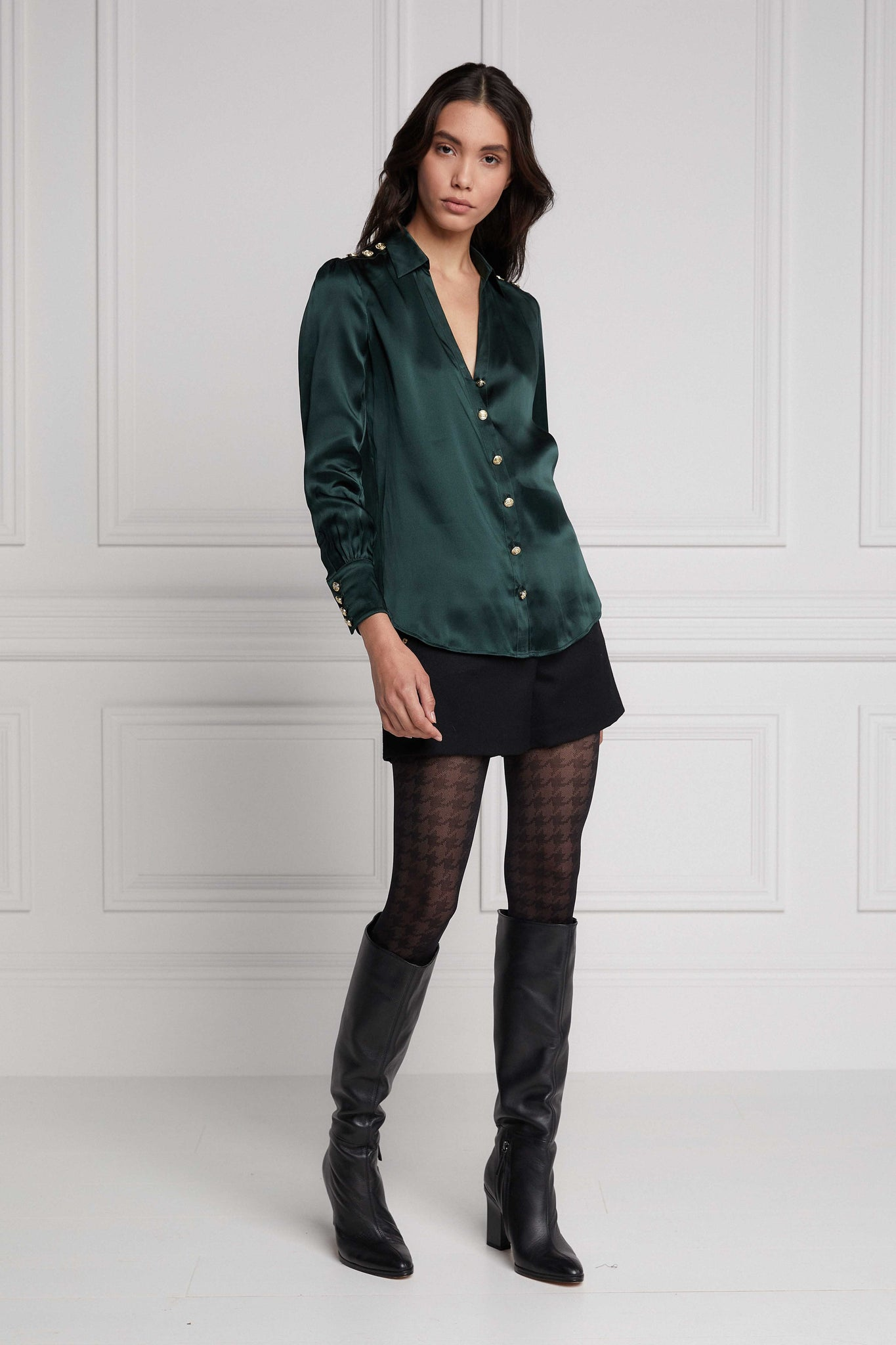 Silk V-Neck Blouse (Emerald)