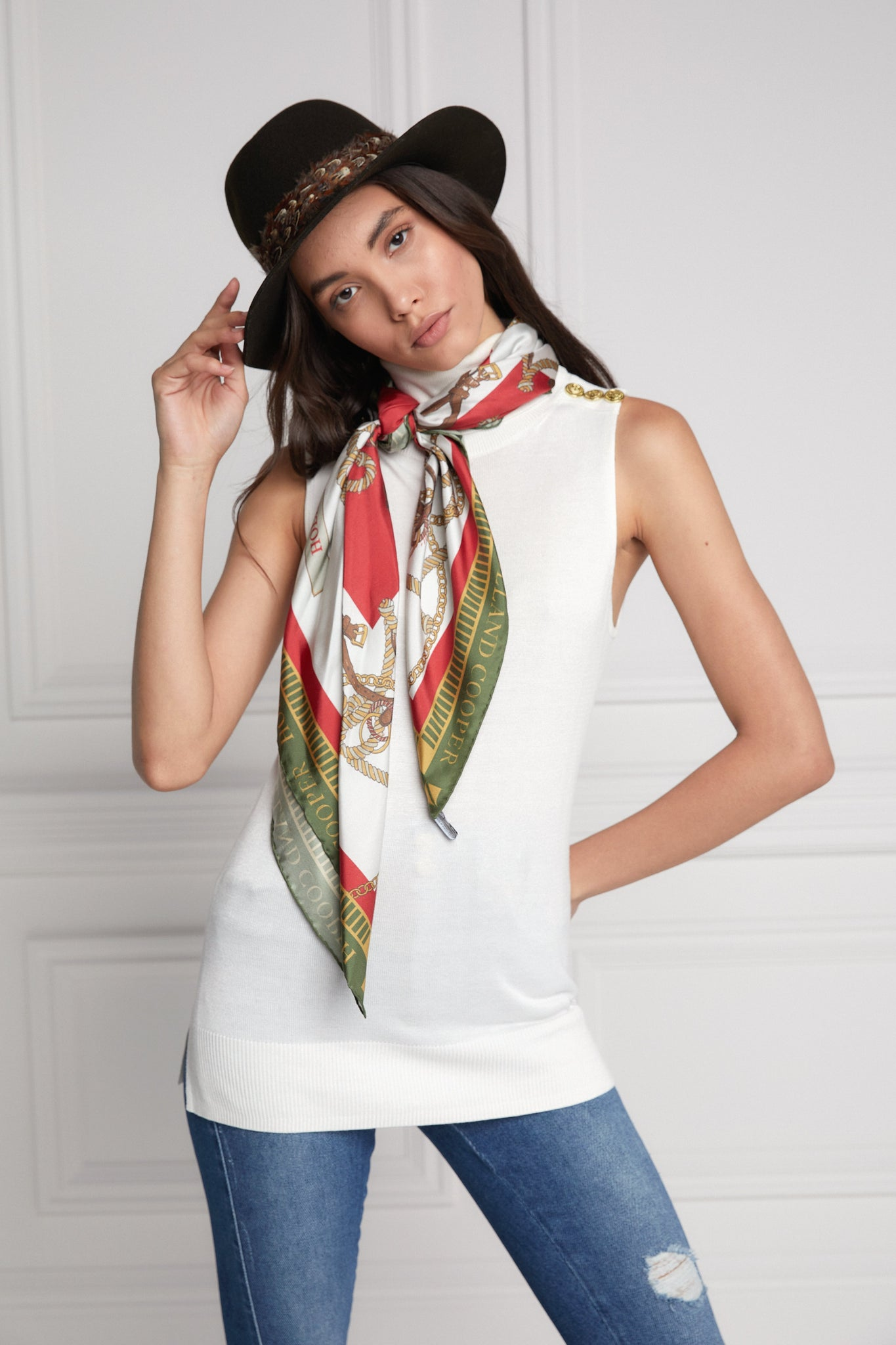 Regal Horse Silk Scarf (Racing Green Heritage Red)
