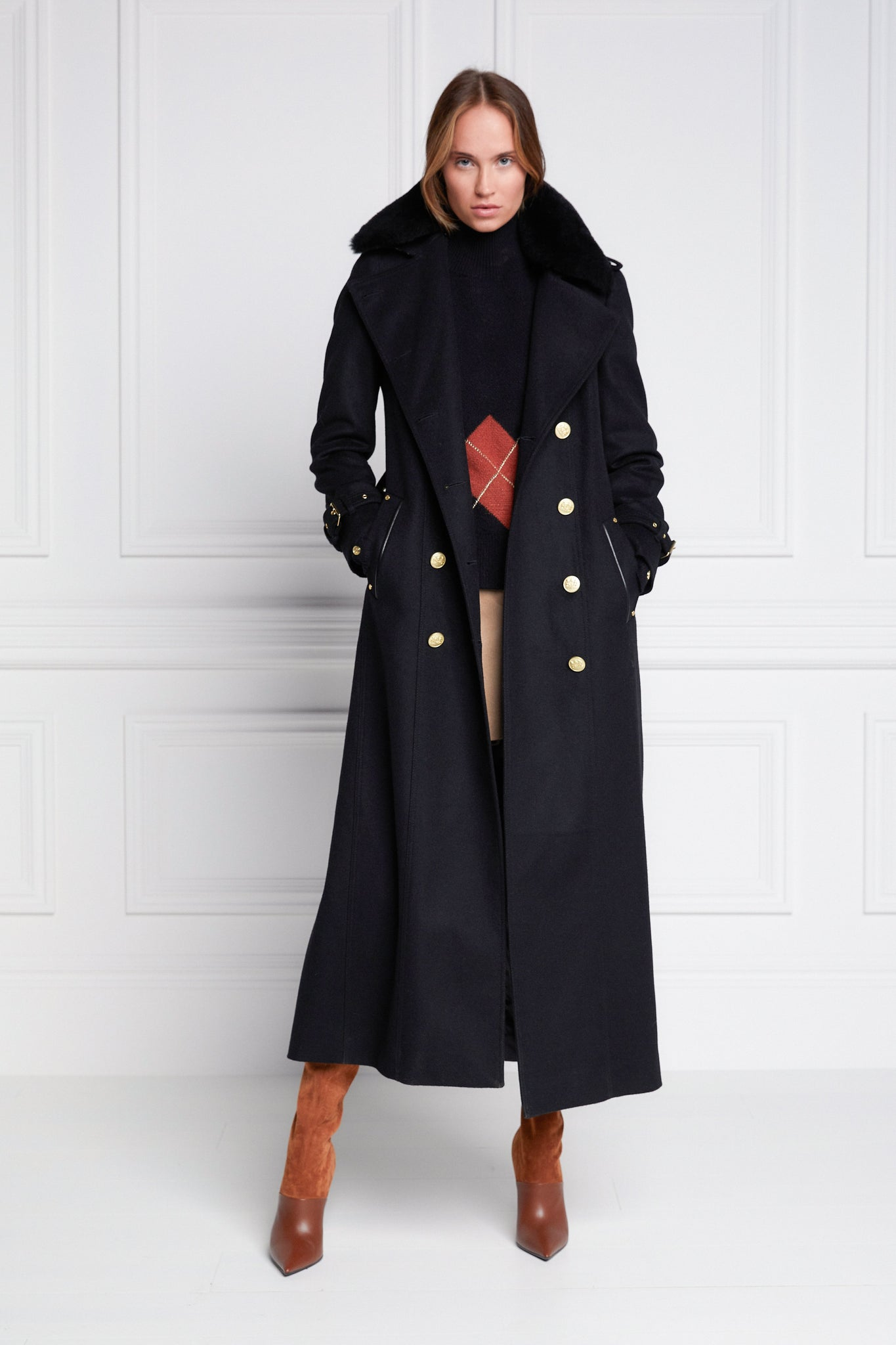 Marlborough Shearling Trench Coat (Soft Black)