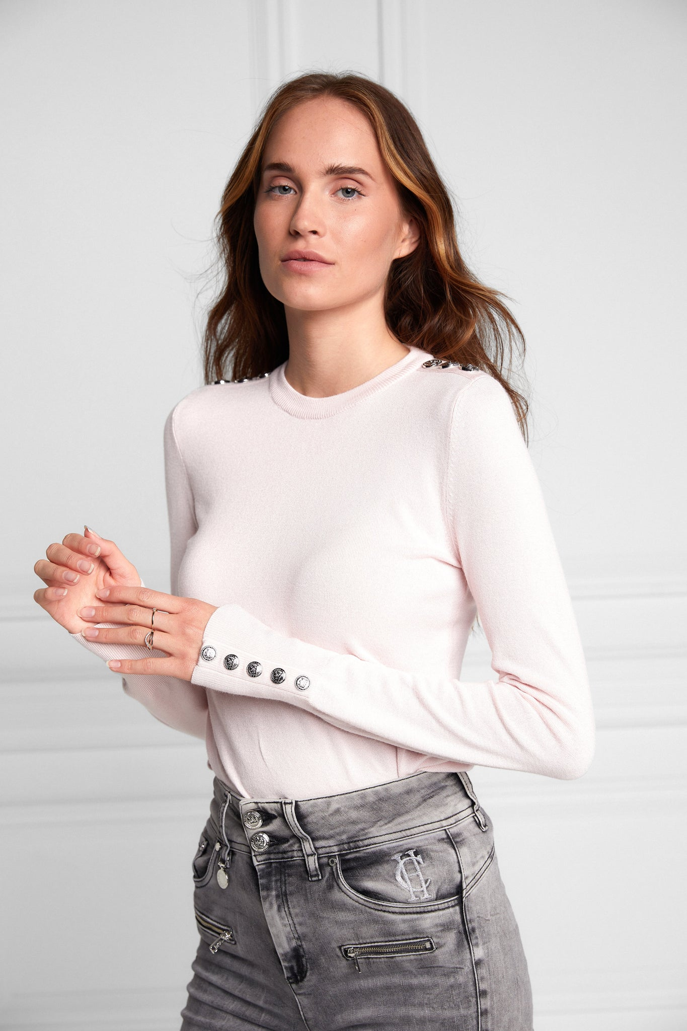 Buttoned Knit Crew Neck (Ice Pink Marl)