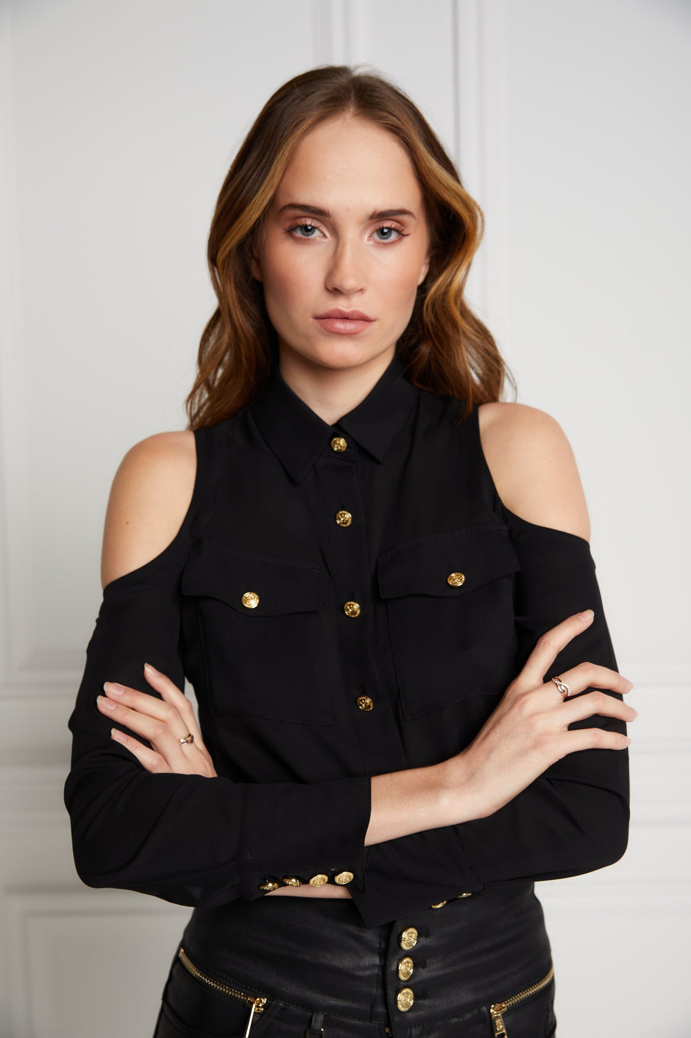 Luxe Cold Shoulder Shirt (Black)