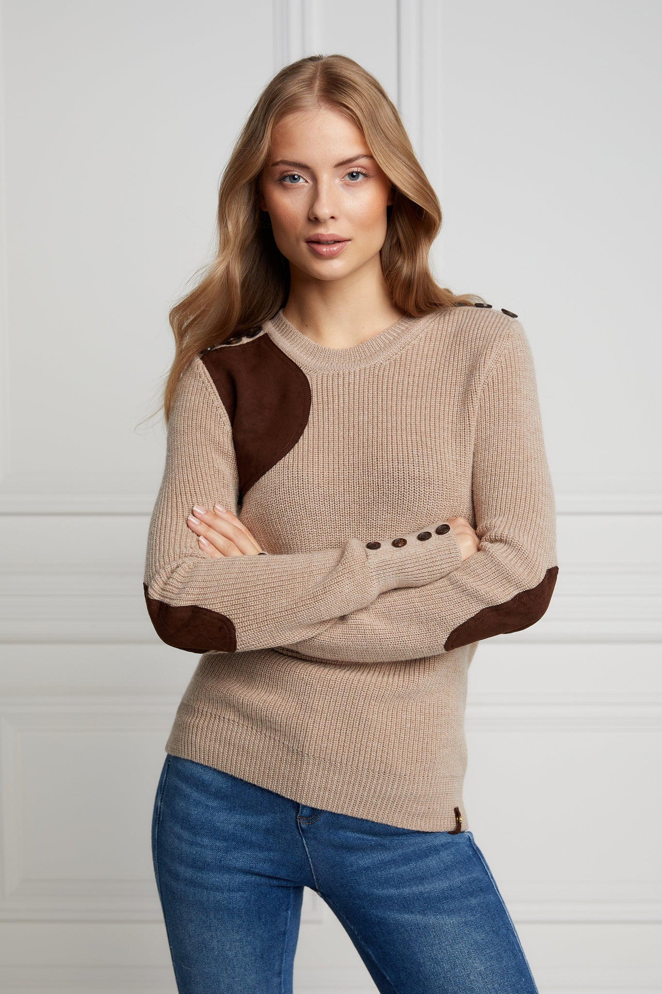 Country Crew Neck Knit (Latte Marl)