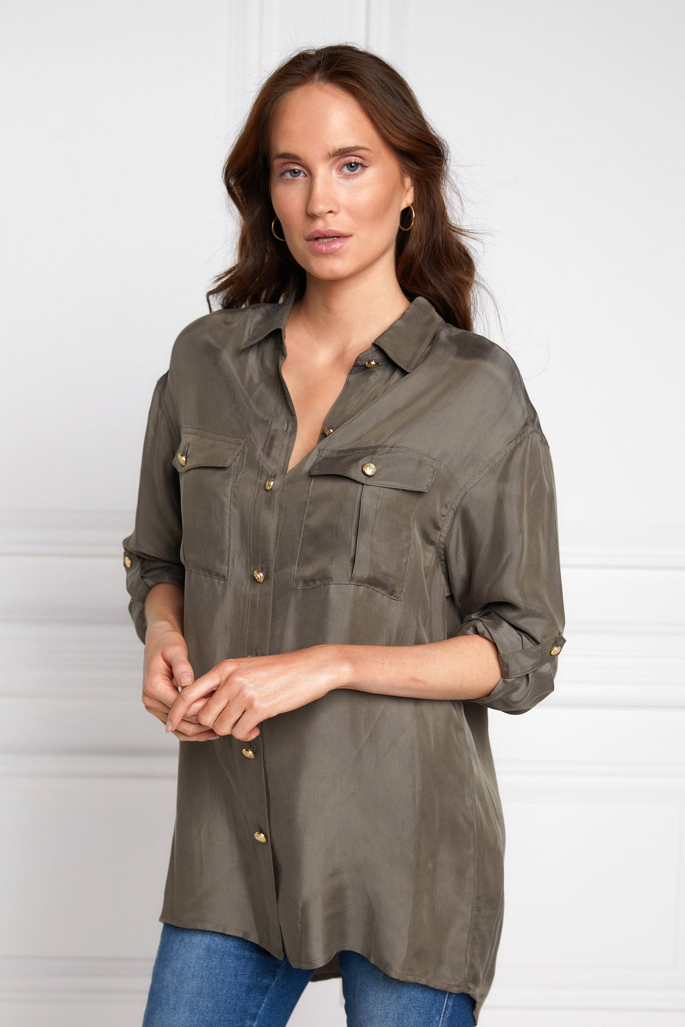 Relaxed Fit Military Shirt (Misty Khaki)