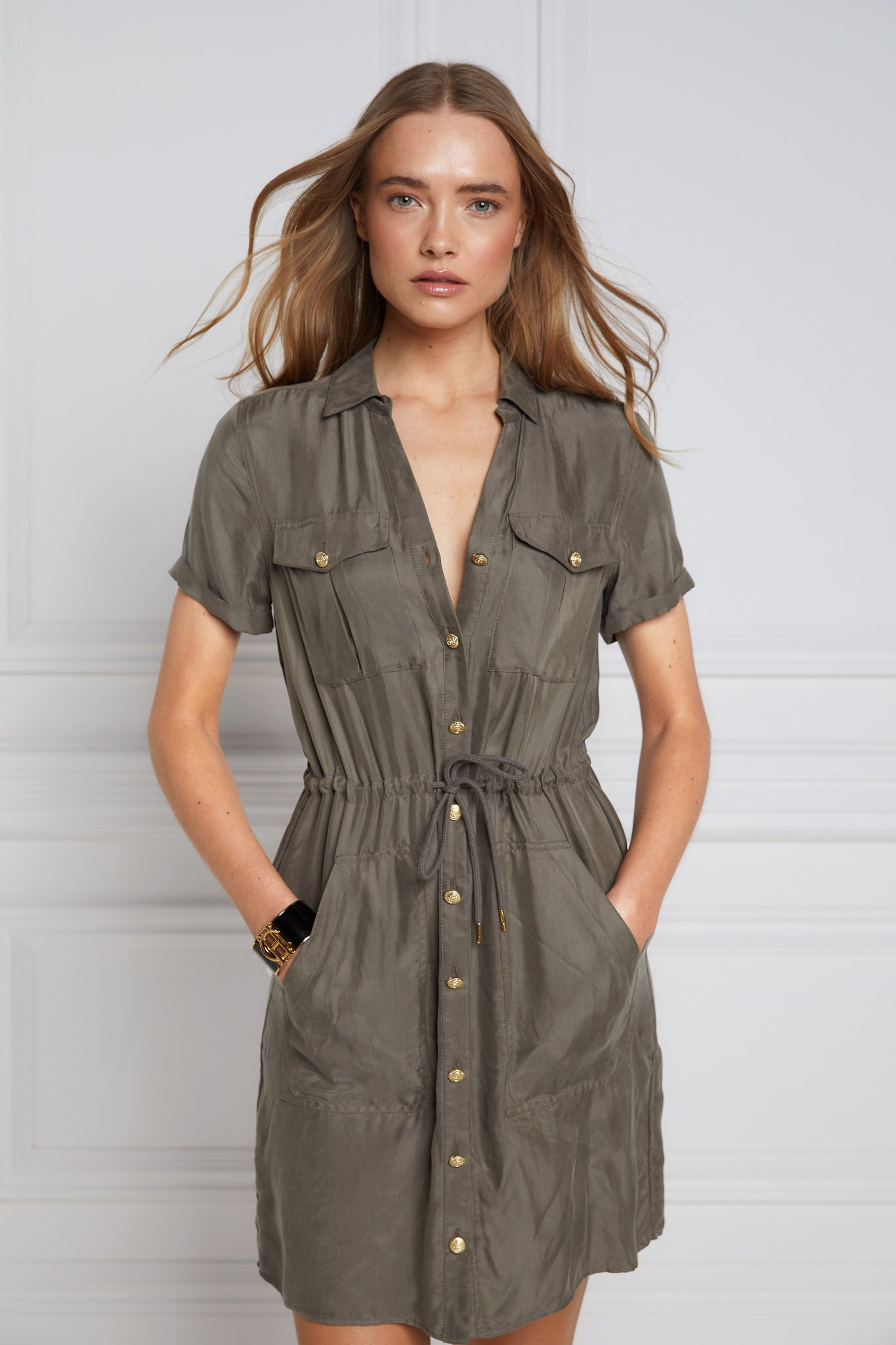 Military Shirt Dress (Misty Khaki)