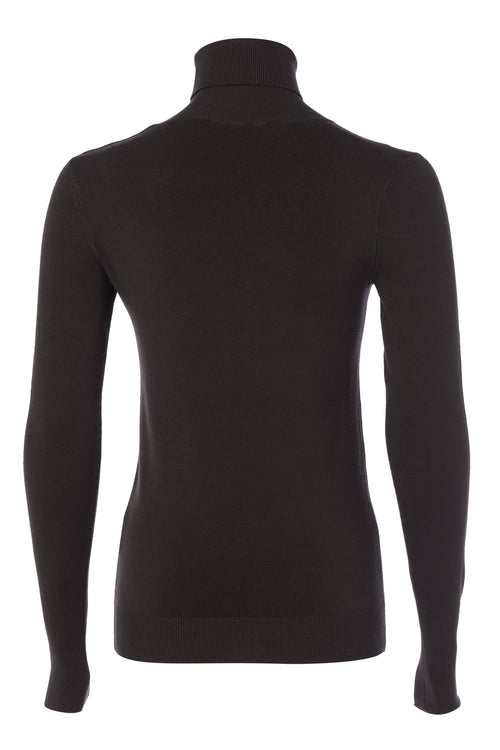 Buttoned Knit Roll Neck (Sable Brown)