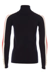 Button Knit Stripe Roll Neck (Ink Navy)
