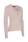 Classic Button Knit V Neck (Ice Pink Marl)