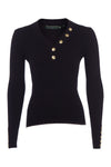 Classic Button Knit V Neck (Black)